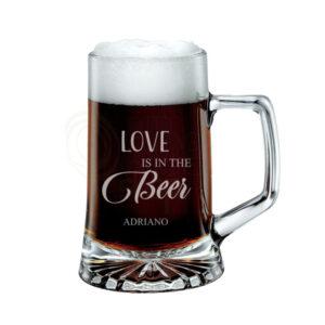 Bicchiere di birra con nome, logo, immagine