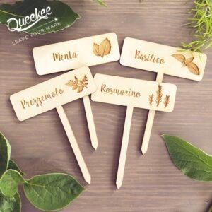 cartellini piante etichette erbe legno personalizzabili