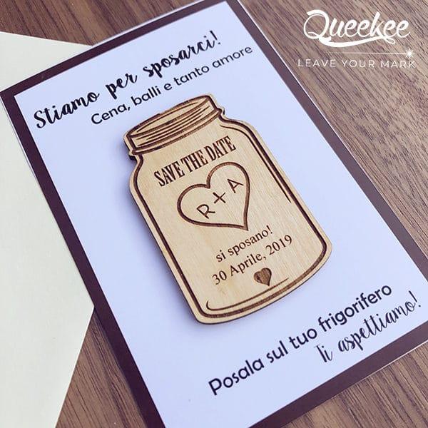 magnete save the date barattolo legno personalizzato matrimonio