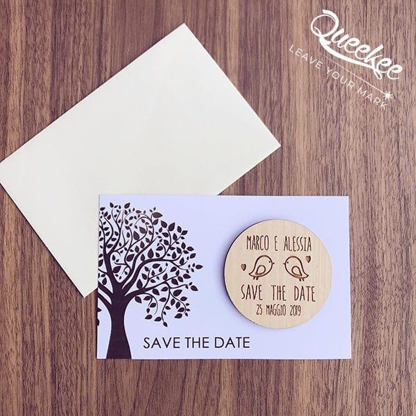 magnete save the date uccellini legno personalizzato matrimonio