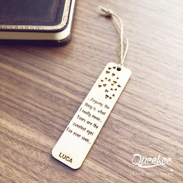 Segnalibro legno personalizzato wood engraved