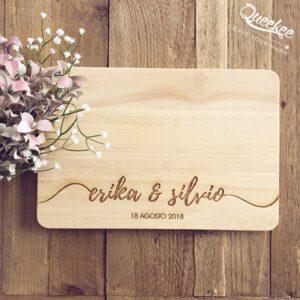 Tagliere in legno personalizzato sposi matrimonio