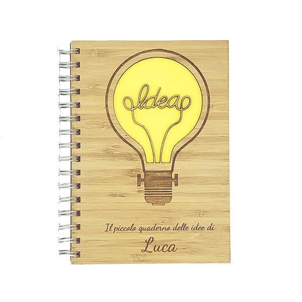 Copertina legno personalizzata quaderno delle idee
