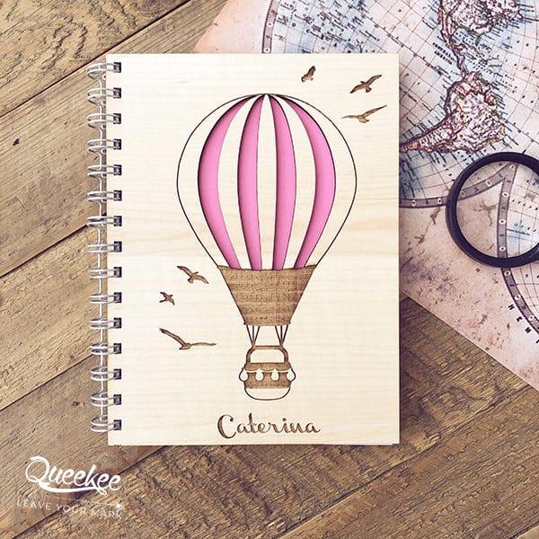 Quaderno copertina legno personalizzata viaggi appunti ricordi