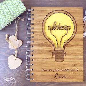 """Quaderno con copertina in legno """"Idea"""" regalo"""