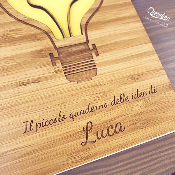 Quaderno idea regalo copertina legno personalizzato