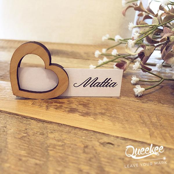 segnaposto matrimonio legno cuore