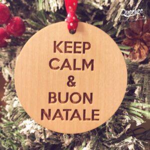 Decorazione palla di natale per albero di natale keep calm in legno personalizzabile