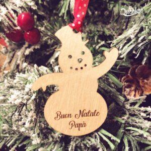 Decorazione di natale a pupazzo di neve personalizzabile in legno per albero