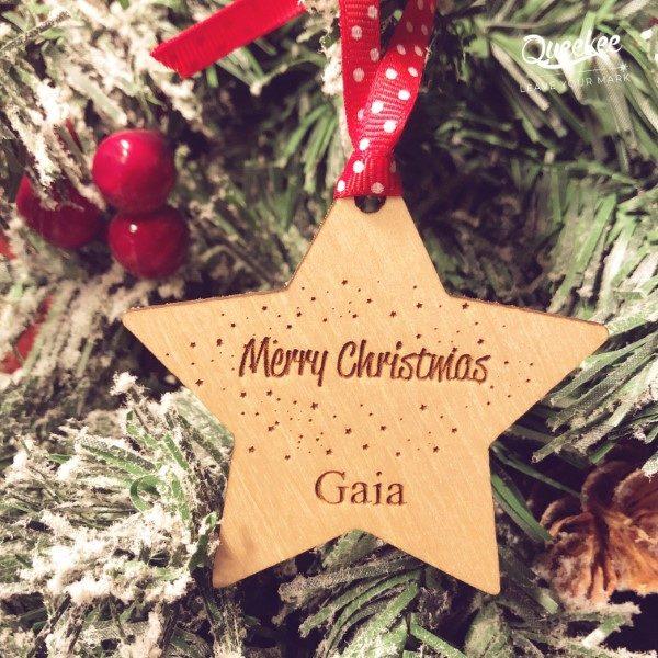 Decorazione di natale a forma di stella personalizzabile in legno per albero