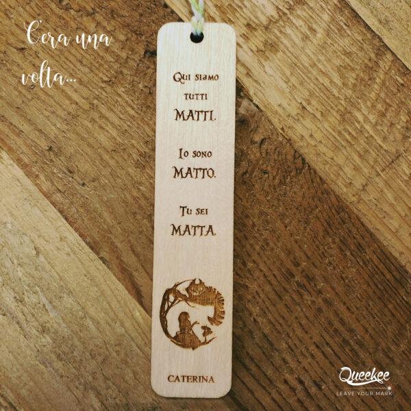 Speranza segnalibro legno personalizzato alice wonderland