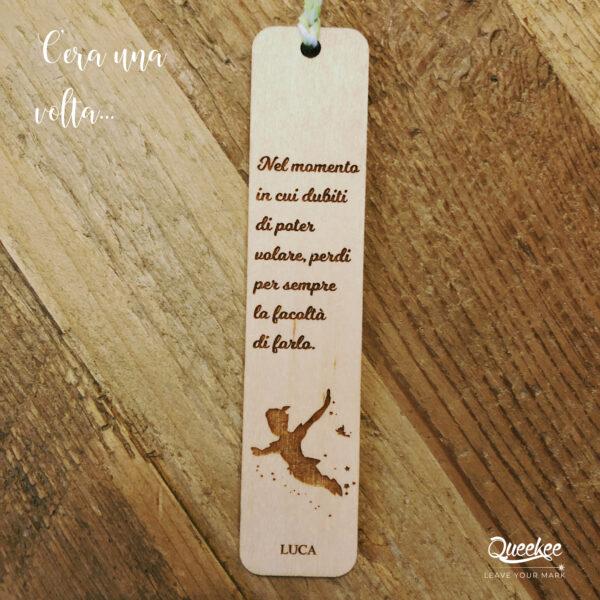 Segnalibro legno personalizzato fiaba Peter Pan