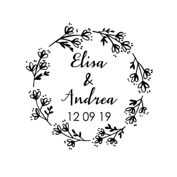 Impronta timbro matrimonio personalizzato cornice fiori elegante
