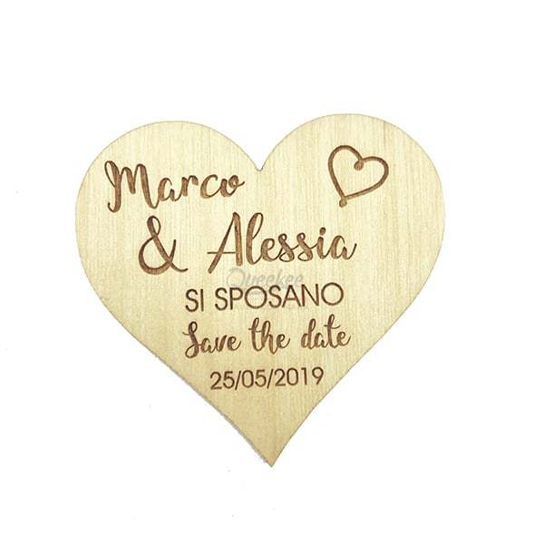 calamita di legno per annuncio matrimonio