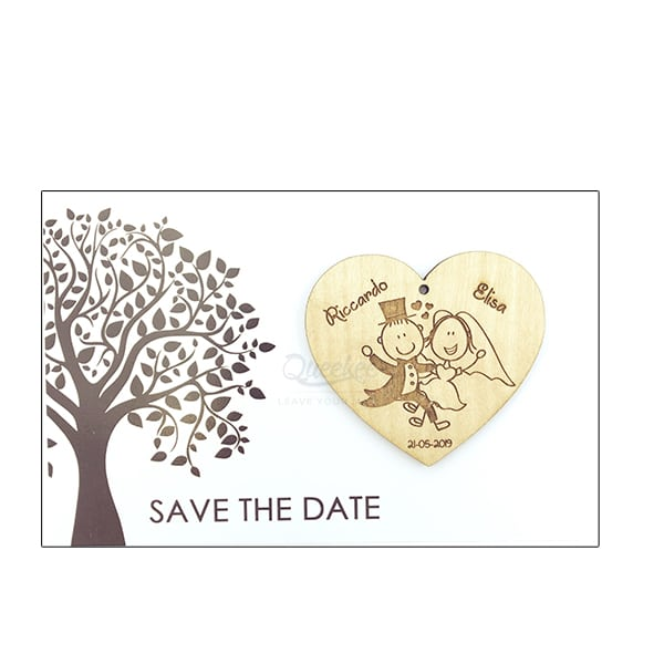 save the date matrimonio incisione su legno