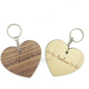 222e6058ca Battito del cuore inciso con nome innamorato su legno portachiavi