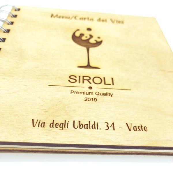 menù carta dei vini in legno personalizzato