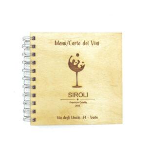 menù carta dei vini quadrato in legno personalizzato