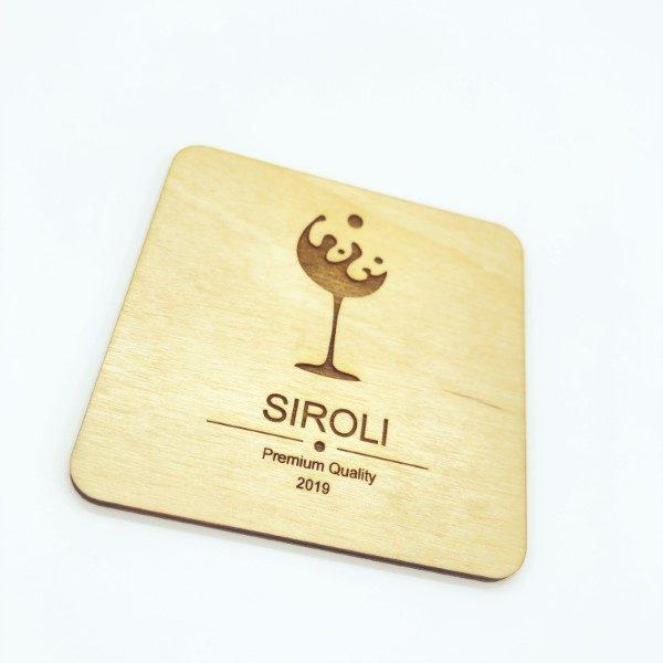 sottobichiere quadrato in legno logo personalizzato