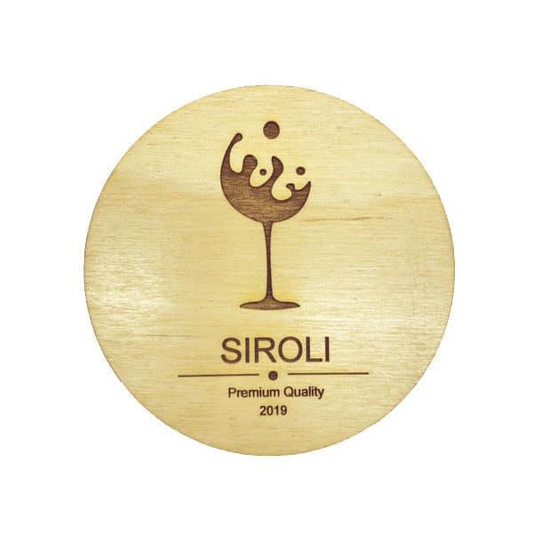 sottobichiere tondo in legno logo personalizzato