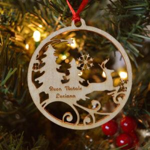 decorazione natalizia renna intagliata