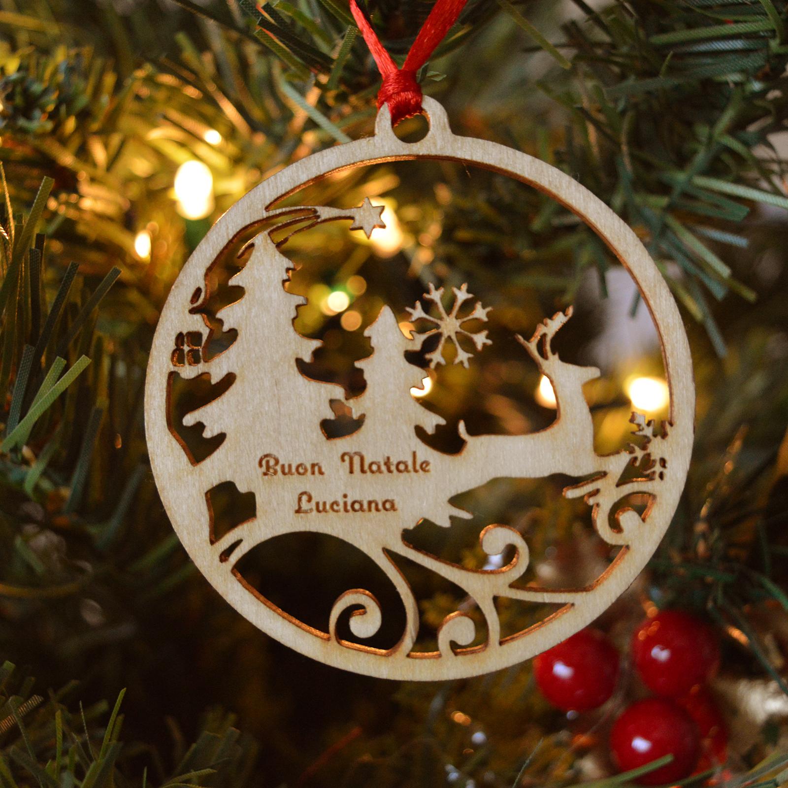 Addobbi Natalizi Legno.Decorazione Per Albero Di Natale In Legno Renna Intagliata Queekee