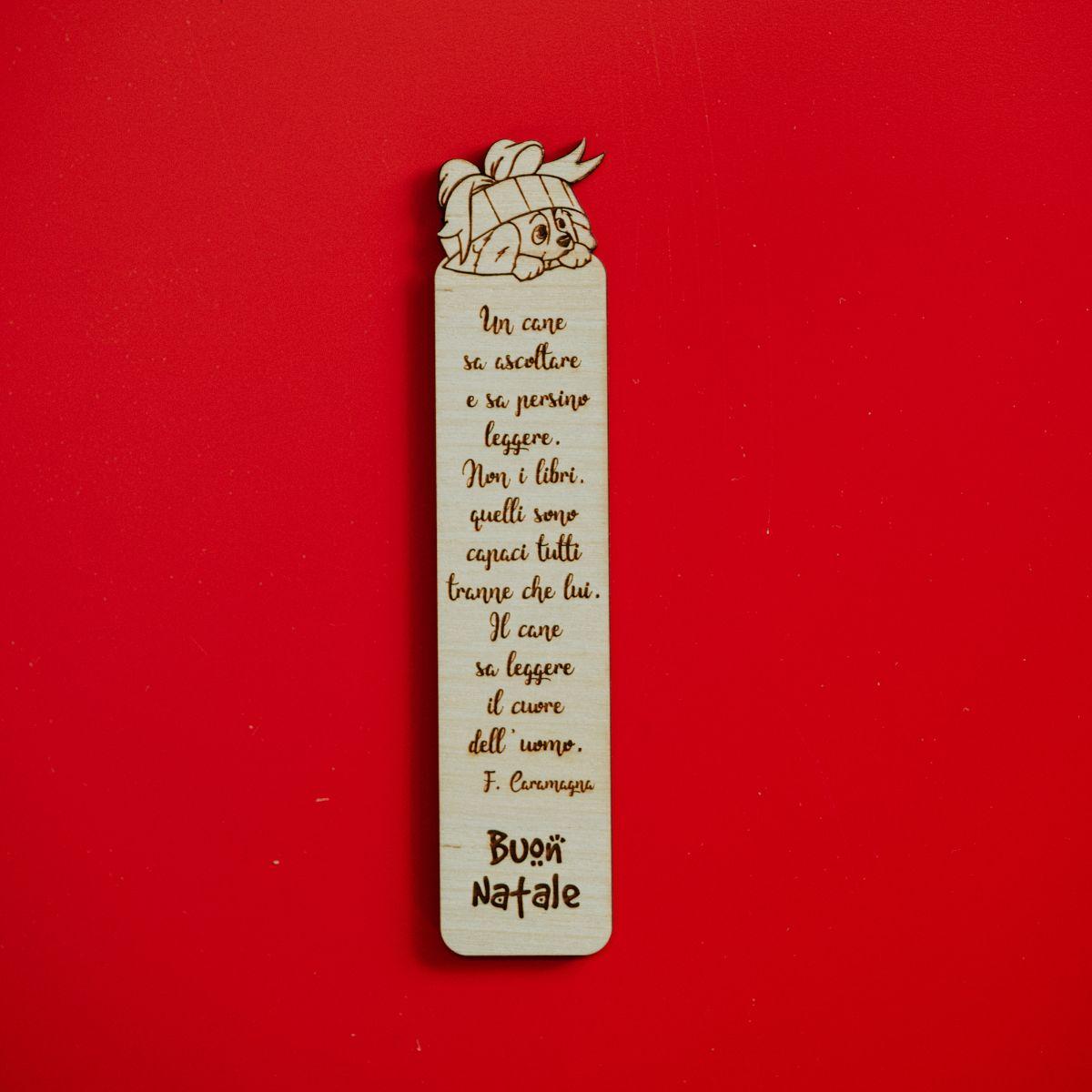 Segnalibro in legno personalizzabile Natale - Cane