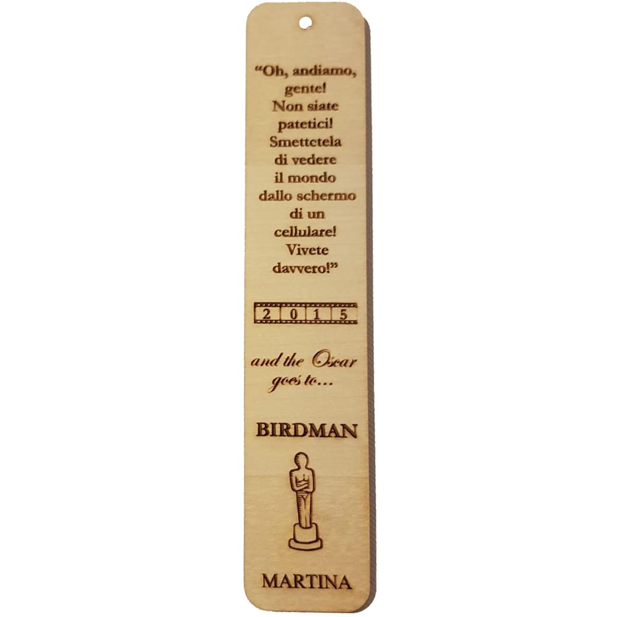 Segnalibro in legno personalizzabile - Birdman
