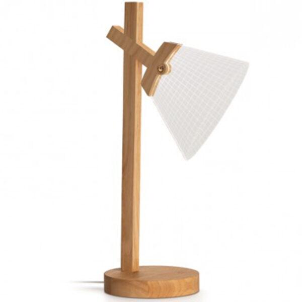 Lampada led in legno cono asta fissa
