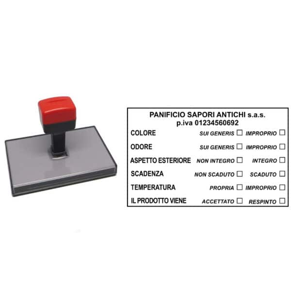 Nowo - 100x60 mm - Timbro manuale per alimenti