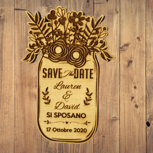 save the date vaso legno