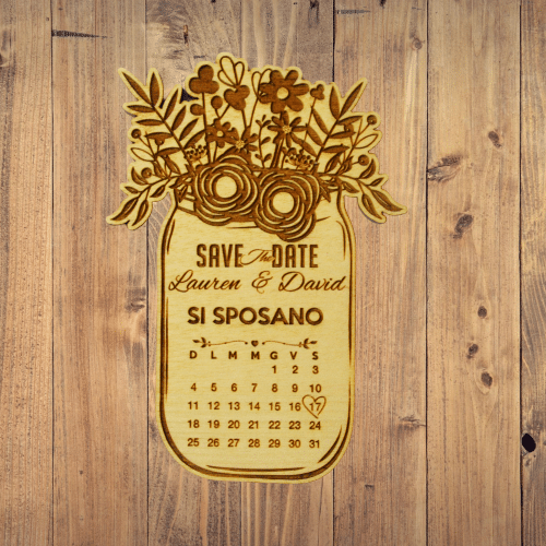 save the date vaso calendario legno