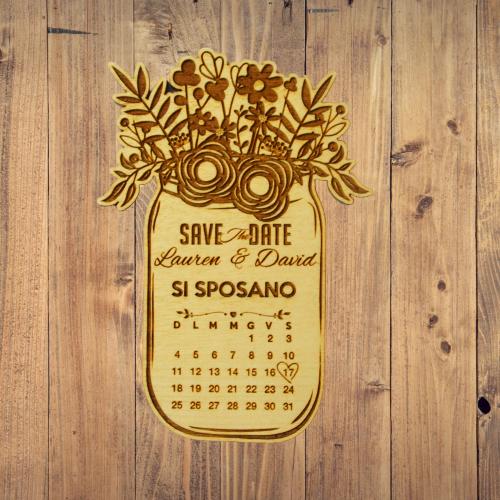save the date vaso calendario legno