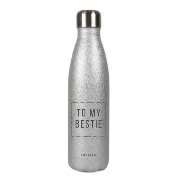 Borraccia in acciaio inox personalizzabile - Glitter Argento