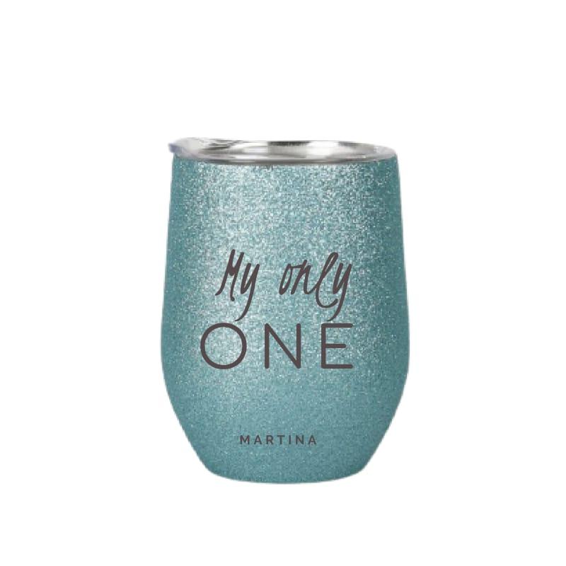 tazza in acciaio inox personalizzata menta glitter