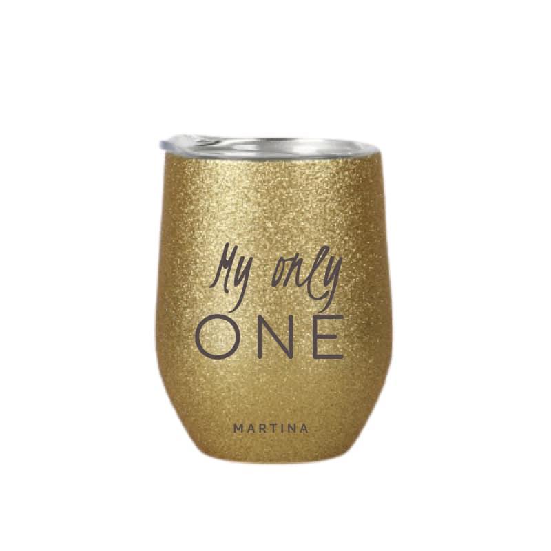 tazza in acciaio inox personalizzata oro glitter