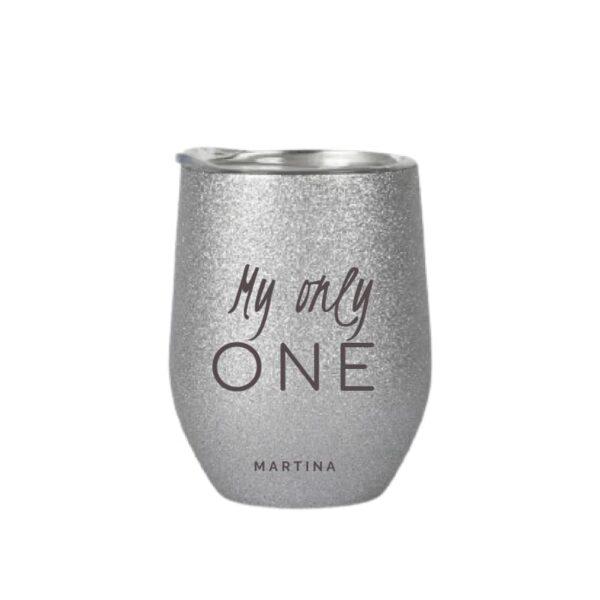 tazza in acciaio inox personalizzata silver glitter