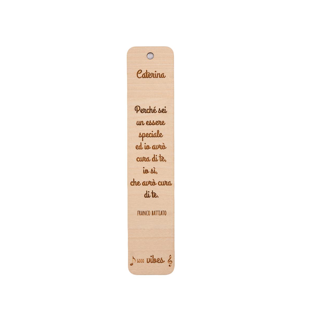 Segnalibro in legno personalizzabile con frase canzone famosa - Franco Battiato
