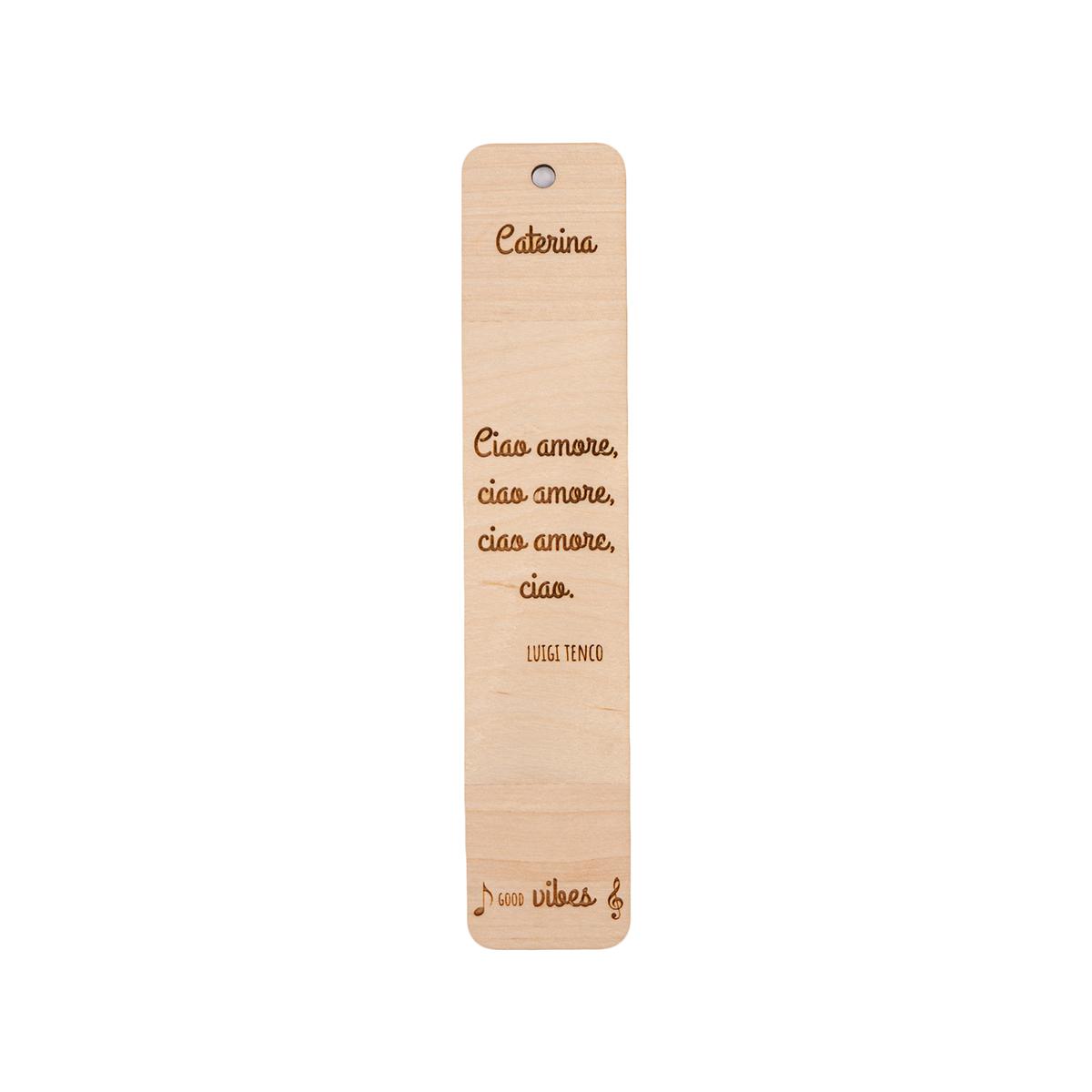 Segnalibro in legno personalizzabile con frase canzone famosa - Luigi Tenco
