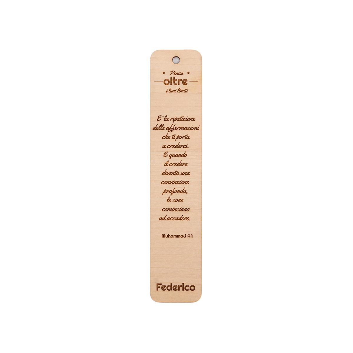 Segnalibro in legno personalizzabile con frase famosa - Muhammad Ali