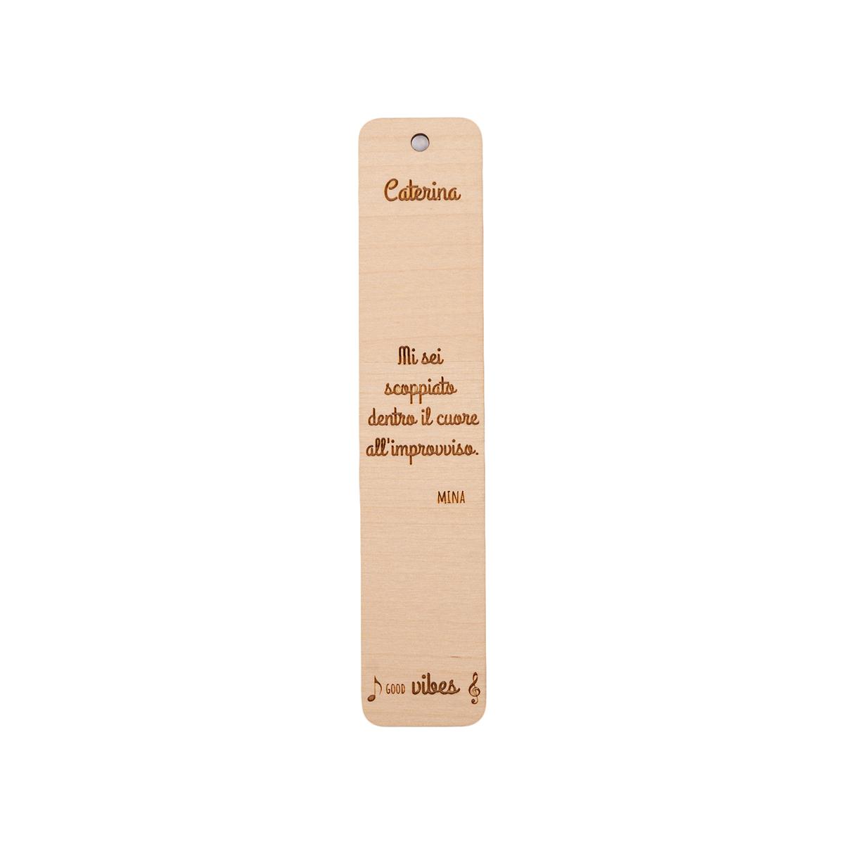 Segnalibro in legno personalizzabile con frase canzone famosa - Mina